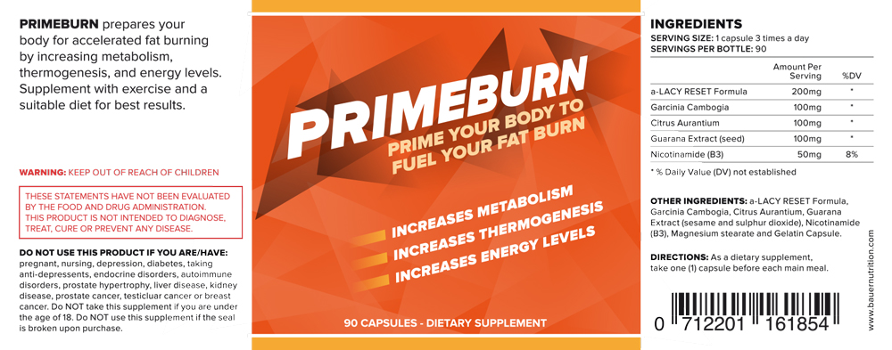 Primeburn Ingredients